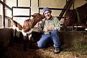 Farm servant with calf inside a cowshed, Kaisertal, Ebbs, Tyrol, Austria
