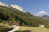 Farm Hinterkaiserhof with mountain scenery, Kaisertal, Ebbs, Tyrol, Austria