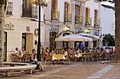 Hotel and bar at main square, Nerja, Andalusia, Spain