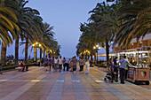 View along a promenade, Balcon de Europa, Nerja, Andalusia, Spain