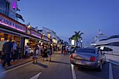 Luxury cars, Restaurants near harbour, Puerto Banus, Marbella, Andalusia, Spain