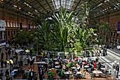 View inside the Atocha railway station, Madrid, Spain