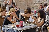 Women in a pavement cafe, Plaza de los Carros, Barrio La Latina, Madrid, Spain