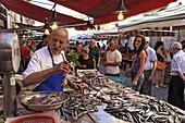 Fishmonger at market, Syracuse, Ortygia island, Sicily, Italy