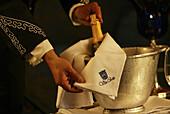 Waiter serving champagne, Hotel Villa Cortés, Playa de las Americas, Teneriffe, Spain