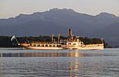 Steamboat, Kampenwand mountains, Lake Chiemsee, Chiemgau, Bavaria, Germany