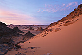 Red light before sunrise in the Akakus mountains, Libya, Sahara, North Africa