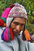 Inca traditional dress, Machu Picchu, Cusco region, Peru