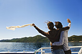 Travelling by boat from Dubrovnik to Mljet island, Mljet island is in background, Croatia