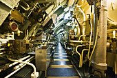 Interior of the Redoutable  first SNLE submarine of the French Navy, now a museum and the largest submarine in the world open to the public) in the Cite de la Mer  ´City of the Sea´) maritime museum, Cherbourg. Manche, Basse-Normandie, France