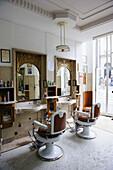 Sousa barber shop with original furniture dating from 1913 at Rua Sa da Bandeira, Porto. Portugal