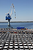 looking down close up on dockside storage of imported new cars awaiting distribution at the port of Paldiski, Tallinn, Estonia.
