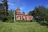 wooden church at Seliste, Estonia, Baltic Sea, Eastern Europe.