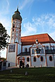 facade of church building Andechs Abbey, Fuenfseenland, Upper Bavaria, Germany, Europe.