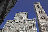 Campanile und Dom Santa Maria del Fiore, Firenze, Florenz, Toskana, Italien / Campanile and Florence Cathedral, Basilica di Santa Maria del Fiore, Firenze, Florence, Tuscany, Italy, Europe