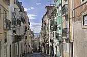 Narrow lane in the Castelo Quarter, River Tejo, Lisbon, Portugal