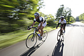 Two men on racing bikes on a country road, Marche, Italy, Europe