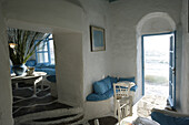 Interior view of a deserted bar at Little Venice, Mykonos Town, Greece, Europe