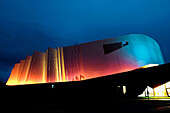 The ´Scarabée´  ´Beatle´): a new multi-use business tool aimed mainly at hosting seminars and tradeshows by architect Alain Sarfati with lighting design by Pierre Negre, Roanne. Loire, Rhone-Alpes, France