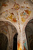 Finland, Southern Finland, Lohja, Pyhän Laurin kirkko, interior view of the 15th century Gothic St  Lawrence church, adorned with well-preserved al secco murals