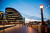 City Hall is the headquarters of the Greater London Authority Designed by Norman Foster, it opened in July 2002 The building has an unusual bulbous shape, intended to reduce its surface area and thus improve energy efficiency