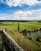 D-Limburg an der Lahn, Lahn, Lahntal, Westerwald, Taunus, Hessen, D-Limburg-Dietkirchen, Landschaftspanorama, Flusslandschaft, Lahnlandschaft, Baeume, Pappel, D-Limburg an der Lahn, Lahn, Lahn valley, Westerwald, Taunus, Hesse, D-Limburg-Dietkirchen, land
