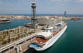 Touristic boat in Barcelona seaport  Spain