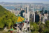 asia, china, hong kong, harbour skyline pagoda 2008