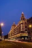 europe, UK, England, London, Harrods department store at dusk