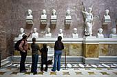 Germany, Bavaria, Regensburg-Donaustauf, Walhalla, monument to great Germans, interior with visitors