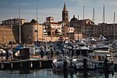 Italy, Sardinia, Western Sardinia, Alghero, city from yacht marina