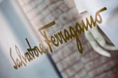 Italy, Lombardy, Milan, Monte Napoleone fashion designer area, Salvatore Ferragamo windows