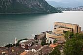 Italy, Lombardy, Lake Lugano, Campione D´Italia, Casino di Campione, Mario Botta, architect, high angle view