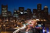USA,Massachusetts, Boston, Financial District from Seaport Boulevard, evening