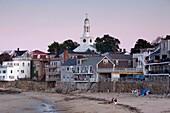 USA, Massachusetts, Cape Ann, Rockport, town view from Front Beach, dusk