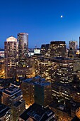 USA, Massachusetts, Boston, Financial District, high angle view from Marriott Customs House Tower Hotel, evening