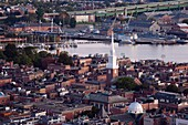 USA, Massachusetts, Boston, North End and Old North Church, high angle view, dawn