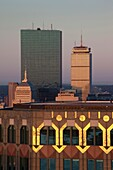 USA, Massachusetts, Boston, Back Bay, John Hancock and Prudential buildings from 75 State Street, high angle view, sunrise