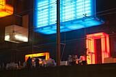 Switzerland, Ticino, Lake Lugano, Lugano, Casino Lugano, neon windows
