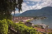 Switzerland, Ticino, Lake Maggiore, Ascona, high angle town view