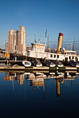 USA, Maryland, Baltimore, Baltimore Museum of Industry,old tugboat and marina