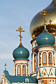 Architectural detail, Architectural details, Architecture, Building, Buildings, Church, Churches, cities, city, Color, Colour, Cross, Crosses, Daytime, Dome, Domes, Europe, exterior, Omsk, Orthodox Church, outdoor, outdoors, outside, Russia, Symbol, Symbo