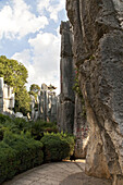 Large stone forest, karst formations under clouded sky, Shilin, Yunnan, People's Republic of China, Asia