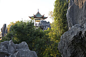 Pavillion above large stone forest, karst formations, Shilin, Yunnan, People's Republic of China, Asia