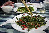 Water spinach, traditional chinese dish in a restaurant at Dali, Yunnan, People's Republic of China, Asia