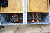 View at the feet of two young men in the shower of a campground, Saxony, Germany, Europe