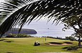 Golf course at Hotel Jardin Tecina on the waterfront, Playa de Santiago, southcoast of Gomera, Canary Isles, Spain, Europe