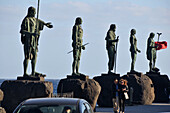 Sculptures of the Guanches at the roadside, Candelaria, Tenerife, Canary Isles, Spain, Europe