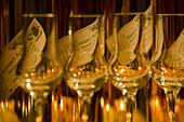 Flaschen mit Apfelsherry in der Rhöner Schau-Kelterei im Gasthof Zur Krone, das Rhönschaf Hotel, Ehrenberg, Seiferts, Rhön, Hessen, Deutschland, Europa