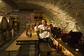 Proprietor Jürgen H. Krenzer in the Apple Wine and Sherry Cellar at Rhöner Schau-Kelterei, Gasthof Zur Krone, Das Rhönschaf-Hotel, Ehrenberg, Seiferts, Rhoen, Hesse, Germany